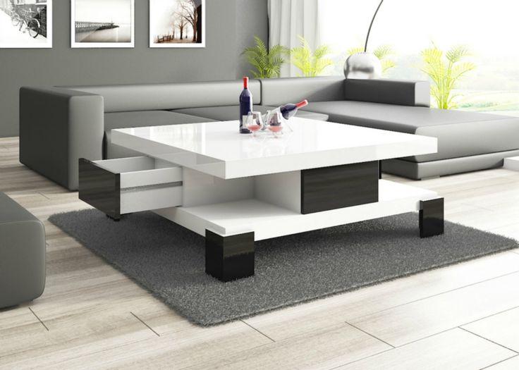 Konferenčné stolíky   Konferenčný stolík SALINA (biely-čierne šuplíky)   Nábytkománia.sk - ponúkame moderný nábytok za lákavé ceny