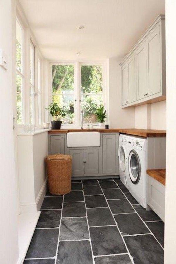 laundry room with black slate flooring