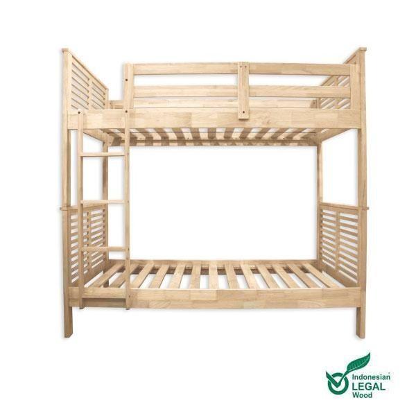 La cama litera Basu es una estupenda opción para habitaciones infantiles o habitaciones con falta de espacio. Fabricada en madera maciza de hevea procedente de bosques sostenibles de Indonesia.La madera es robusta se presenta en crudo, sin barn...