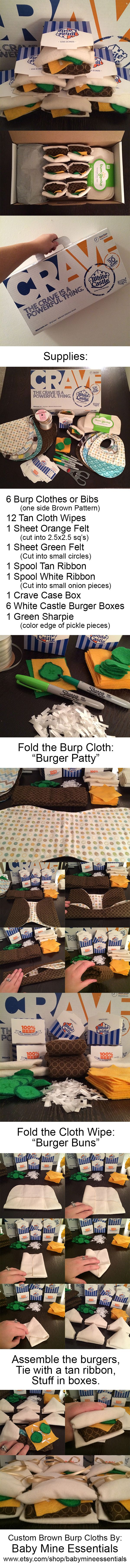 Baby Shower Boy Gift Idea: Burp Cloth White Castle Burgers (Sliders.) I made these little burgers with custom burp cloths from: Baby Mine Essentials (Etsy Shop) (https://www.etsy.com/shop/babymineessentials)