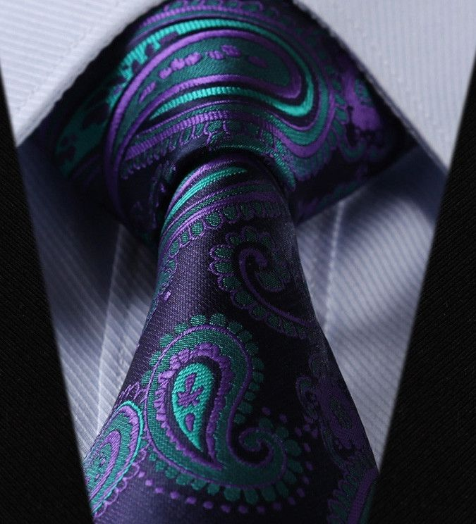 "2pc 100% Silk Jacquard Woven Necktie Set Color: Purple and Turquoise 59"" Length, 3.4"" Width"