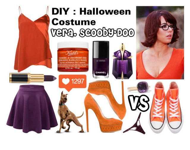 """""""DIY Halloween Costume : Vera, Scooby-Doo"""" by stellapi19 ❤ liked on Polyvore featuring Prabal Gurung, Casadei, Converse, Fleur of England, Chanel, Thierry Mugler, Balmain, Pomellato and Kiehl's"""