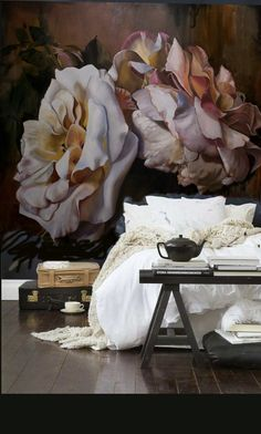 """Read More""""Marcella Kaspar's bedroom; artist, Coogee, Australia. Adore her painting hung over the bed."""", """"Marcella Kaspar's bedroom; artist, coogee, australia, flower painting"""", """"wow, this painting, and the furniture too. beautiful bedroom."""", """"Clever spa-inspired home 