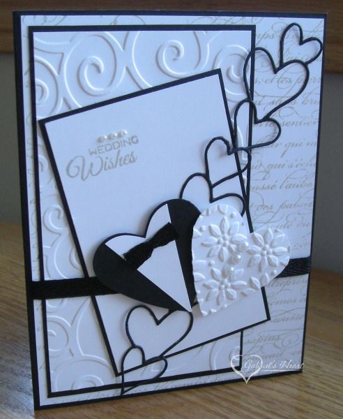 Clean monochrome wedding card inspiration. Tuxedo Wedding Wishes by darbaby - Cards and Paper Crafts at Splitcoaststampers