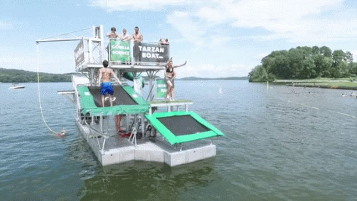 The Tarzan Boat is essentially a floating waterpark -- a 12' by 34' pontoon that can entertain up to 40 people at a time with:    1) a 6ft diving platform    2) a 12ft diving platform    3A) a rope swing that you can use for ROPE SWING BEER PONG    3B) a military-grade poly cargo net you can swap in if you don't wanna play ROPE SWING BEER PONG    4) a small trampoline    5) an Olympic-grade trampoline that launches you as high as 20ft in the air    6) a twisty tube slide