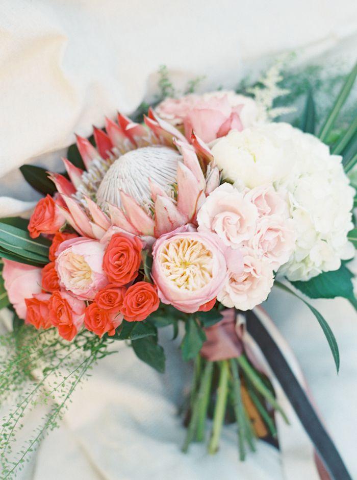 Colorful Modern Wedding Bouquet | The Happy Bloom | http://heyweddinglady.com/modern-preppy-wedding-shoot-coral-gray/