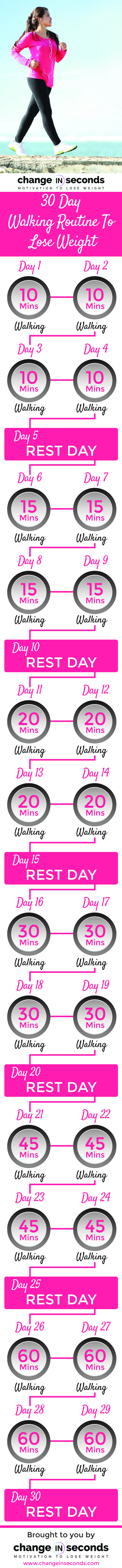 30 Day Walking Routine To Lose Weight (Download PDF) http://www.changeinseconds.com/30-day-walking-routine-to-lose-weight/