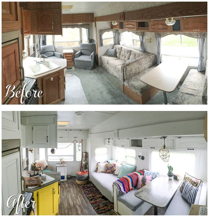 Before and after photos of a camper renovation living space