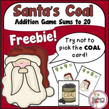 Freebie! Santa's Coal is a fun Addition Game for sums up to 20. The object of the game is to be the first player to collect 10 cards. But be careful not to draw Santa's Coal! If a player draws this card, they put all cards they are holding back in the can.