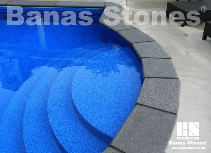 Banas Jet Black Pool Coping Available at our store at 3500 Mavis Rd, Mississauga, ON L5C 1T8