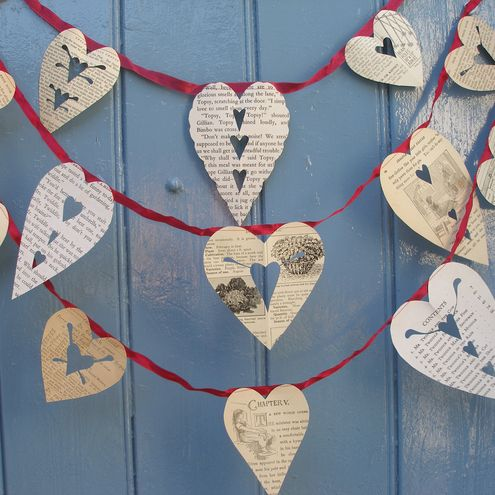 Valentines Vintage Paper Cut Heart Bunting