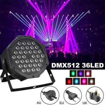 RGB Remote DMX512 Voice-activated 36 LED Stage Light Party Disco KTV Lamp 110-240V