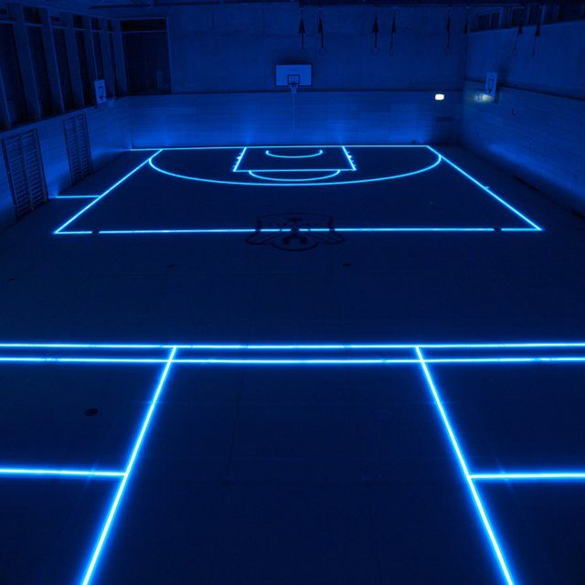 LED ASB Glass Sports Floor ~~ LED gym floor can change for whatever sport is being played like tennis, volleyball, basketball, etc. ~~ WAY COOL!!