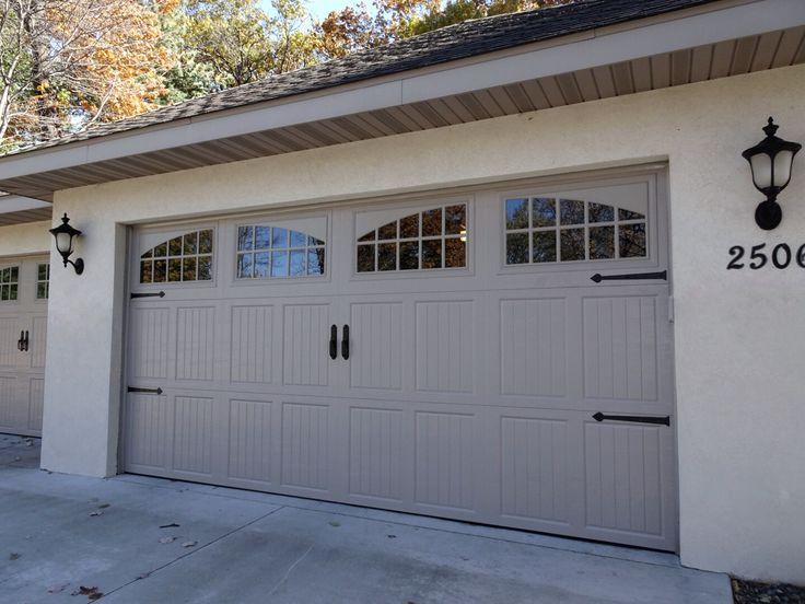 Amarr Classica In Sandstone With Tuscany Panels And Seine Windows Garage Door Design Garage Door Styles Garage Door Types