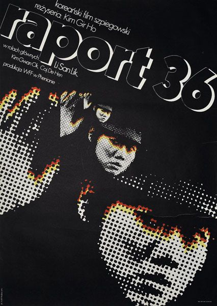 "Movie poster for Korean film ""Raport 36"". Directed by: Kim Gir Ho. Poster designed by MIECZYSLAW WASILEWSKI, 1973."
