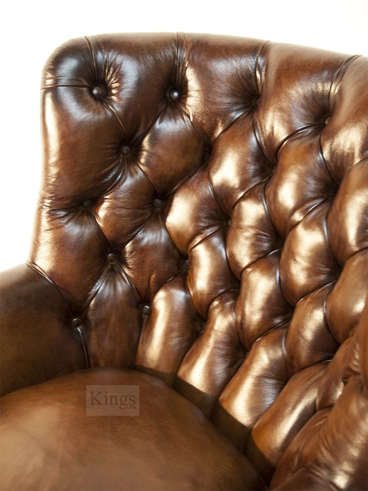 Tetrad Contrast Upholstery antique leather with deep hand buttoning http://www.kingsinteriors.co.uk