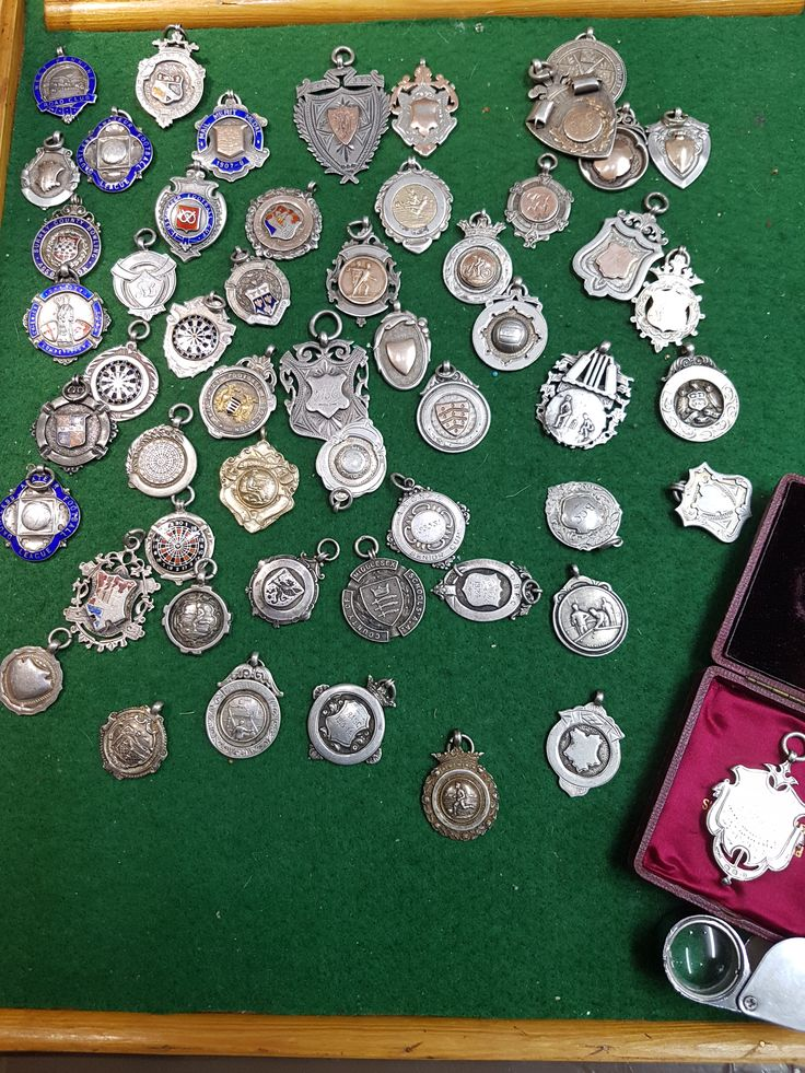 Carolans Antiques & Collectables - Antique silver, gold & enamel fob chain medals collection