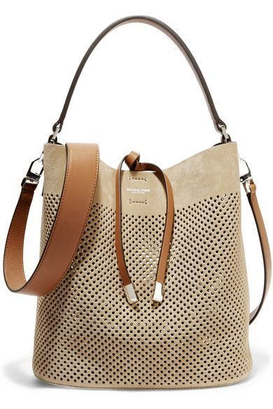 Michael Kors Collection | Miranda medium perforated suede and leather shoulder bag | NET-A-PORTER.COM