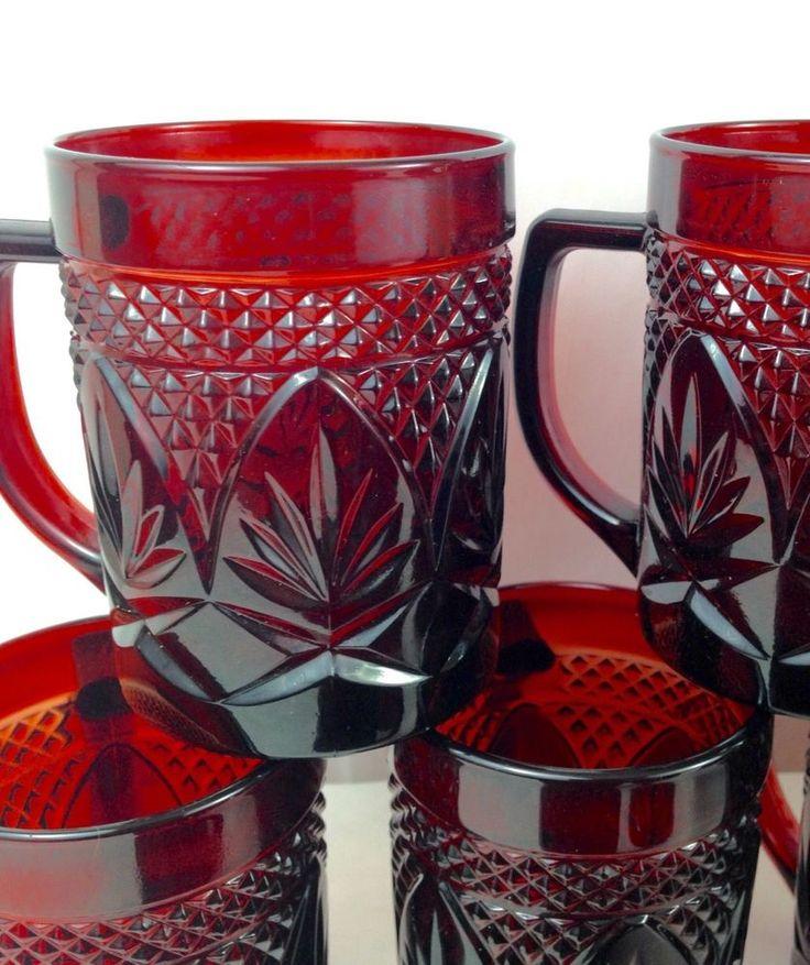 Ruby Red Fan Vintage Bowls France Arcoroc Luminarc Glas