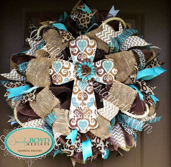 Western Rustic Brown And Turquoise Leopard Print Burlap Cross Wreath By Jennifer Boyd Designs