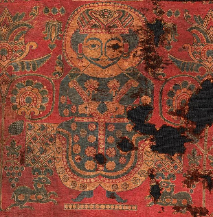 Umayyad textile with a Sasanian King, Iran or Central Asia, 7th-8th century