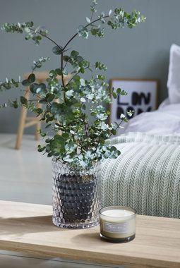 Enkle hvite produkter og glass er vakkert med grønne planter.