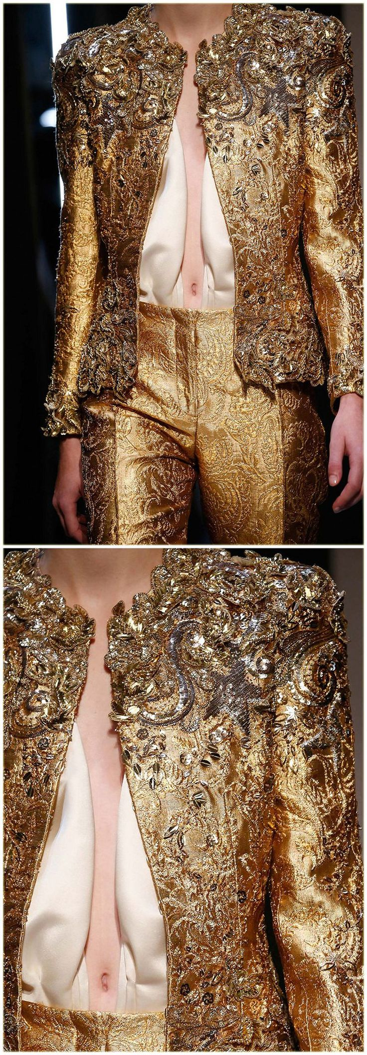 Недавно я разыскала снимки очень высокого качества с недавних показов высокой моды, и, конечно, не смогла пройти мимо вышивок. Самое интересное — вырезала из крупных кадров, усилила резкость, чтобы не пропустить никакой важной мелочи, и теперь предлагаю всем полюбоваться на красоту в исполнении известных модельеров. Вначале — безумно красивые вышивки в нарядах китайского модельера Guo…