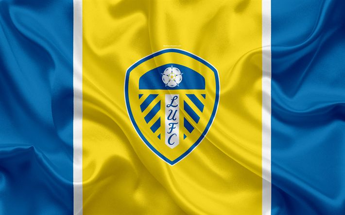 Download wallpapers Leeds United FC, silk flag, emblem, logo, 4k, Leeds, UK, English football club, Football League Championship, Second League, football