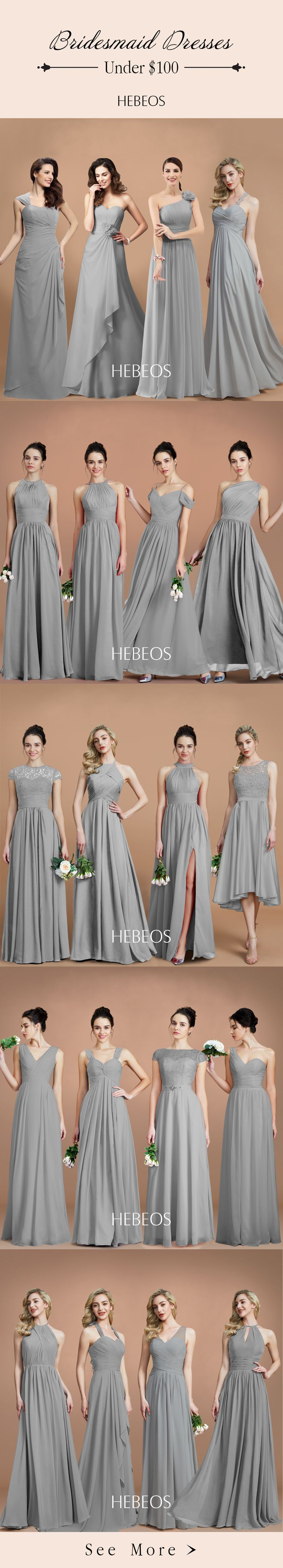 Browse our selection of beautiful grey & silver bridesmaid dresses. Your leading ladies will shine in gorgeous metallic dresses on your big day. Shop now! #HEBEOS #Bridesmaiddresses #Silverwedding
