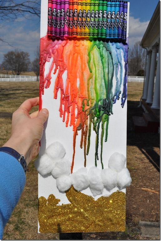 St. Patrick's Day craft for kids -- melting crayon rainbow and pot of gold! www.The SeasonedMom.com