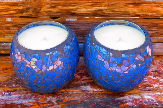Candle - Blue Crackle Mosaic Soy by GreenRitual, $15.95
