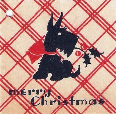 Scottie Dog Plaid Vintage Christmas Tag