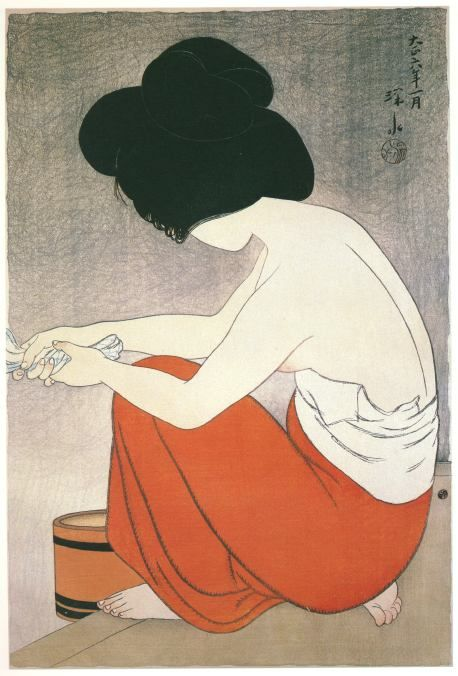"Ito Shinsui. ""Young Girl Washing"""