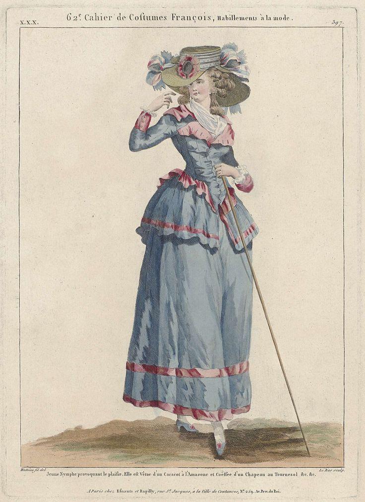 Gallerie des Modes et Costumes Français, 1787, xxx 397 : Jeune Nymphe provoquant le plaisir...., Le Bas, c. 1787