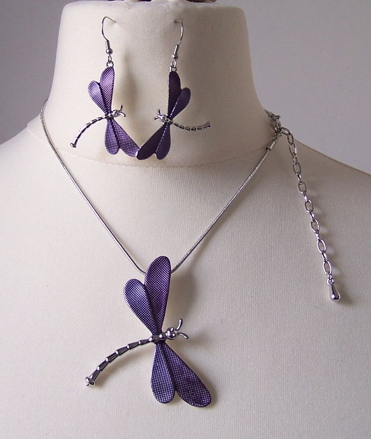Purple Dragonfly  @pendant @earrings   https://www.facebook.com/Maryam-Creations