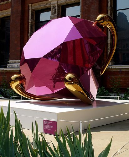 Diamond by Jeff Koons--shiny stainless steel sculpture