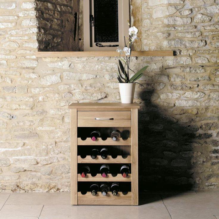 Oak Wine Rack And Lamp Table