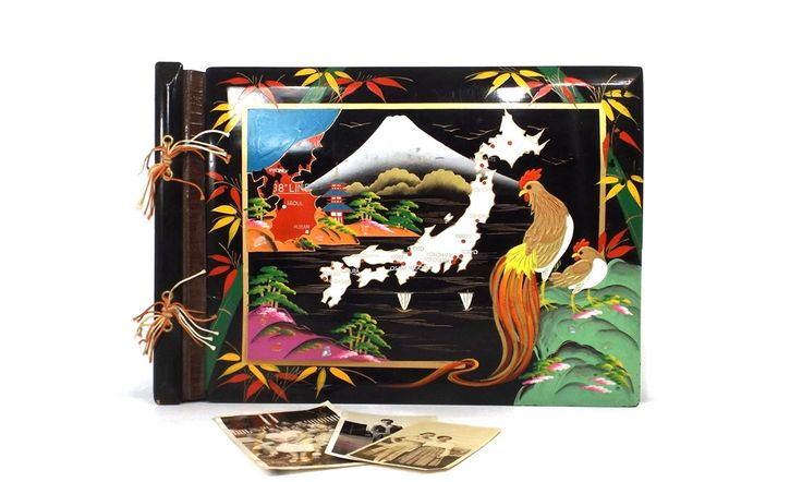 vintage 40s black lacquer scrapbook photo album asian scene japan japanese painted artwork wood cover cardstock pages keepsake oriental asia by RecycleBuyVintage on Etsy