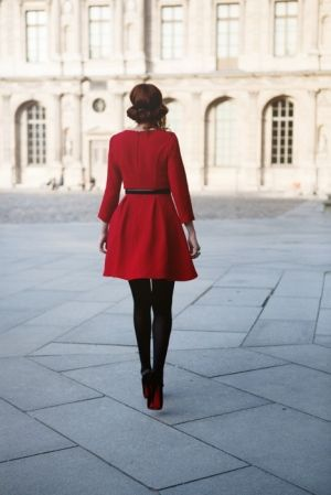 Belted red coat, Louboutins