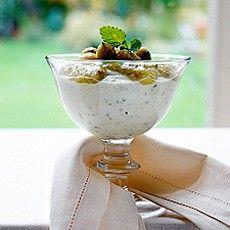 Gooseberry Yoghurt Fool - gooseberries, topped and tailed with scissors 10 oz (275 g) Greek yoghurt 5 oz (150 g) golden caster sugar
