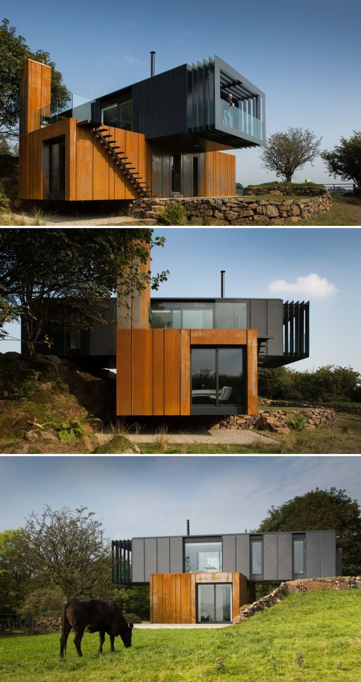 shipping container home acts like a sculpture in the irish land - Container Home Design Ideas