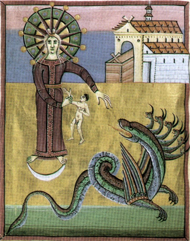Apocalisse di enrico II, il drago minaccia la donna, 1000-1020, bamberga, staatsbibliothek, ms. 140 f29 v. 20,4x29,5 cm - Arte ottoniana - Wikipedia