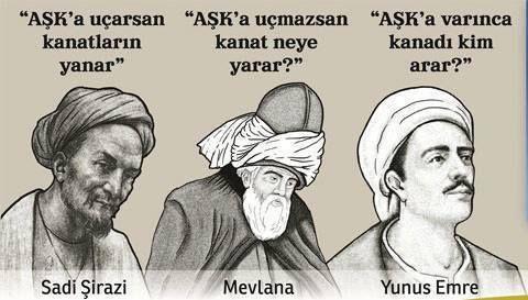 Sadi Şirazi,Mevlana,Yunus Emre