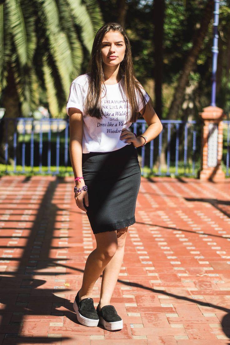 Falda pencil #pencilskirt remera estampada #printedtee