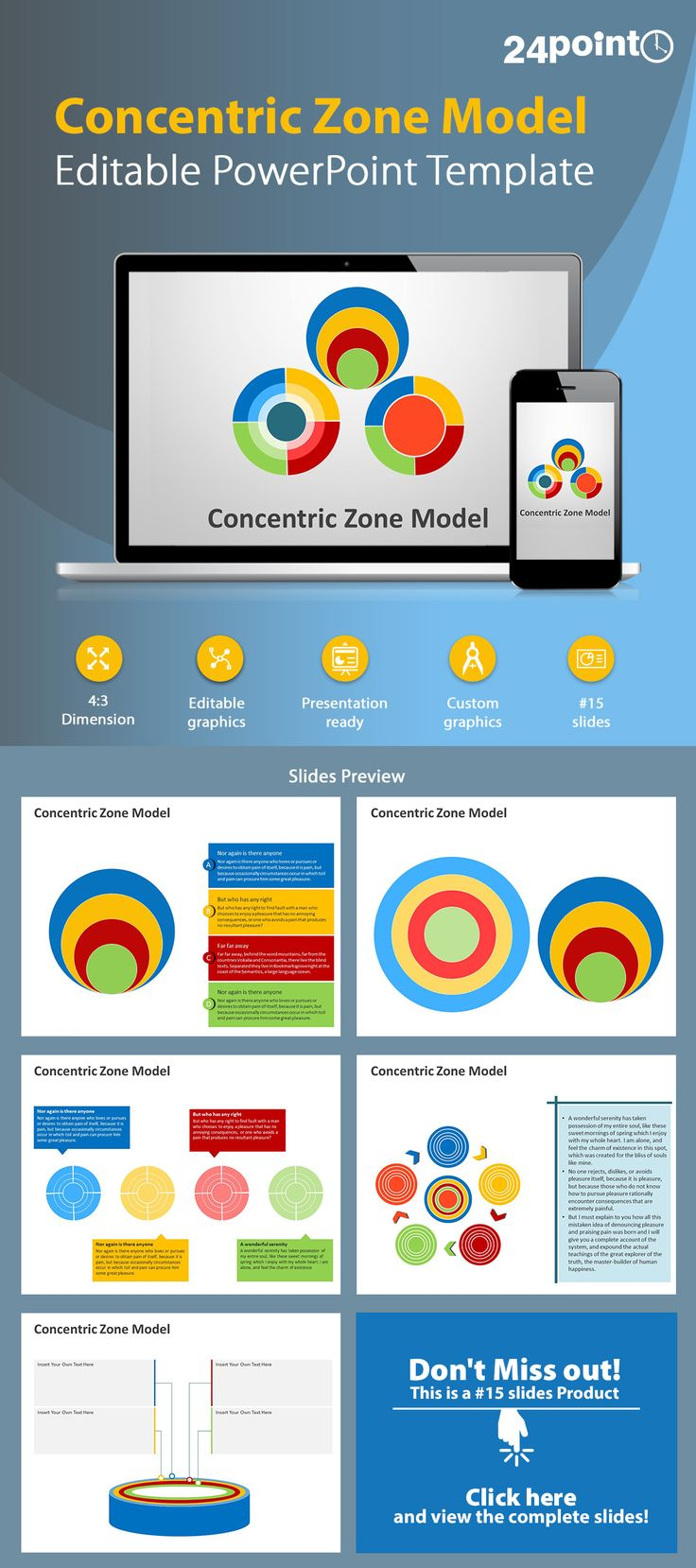 111 best powerpoint templates images on pinterest templates concentric zone model editable powerpoint template toneelgroepblik Choice Image