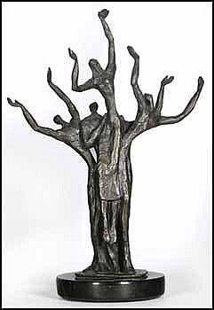 Esther Wertheimer 1926 - Canadian bronze sculpture Four Figures 11 1/4 x 8 1/4 x 2 1/4 inches 28.6 x 21 x 5.7 centimeters signed and editioned 14/15 Provenance:Private Collection, Montreal