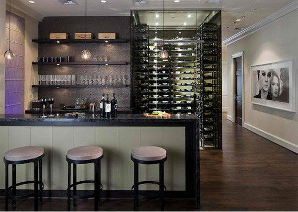 15 Sleek Ideas For Modern Wine Cellars Home Design Lover Home Wine Bar Wine Cellar Design Bars For Home