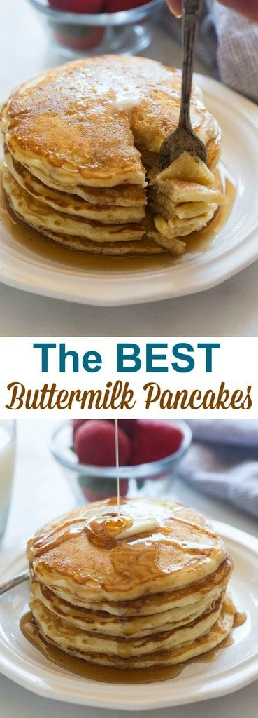 The BEST recipe for fluffy, amazing buttermilk pancakes! There's nothing yummier than a big delicious stack of homemade pancakes!