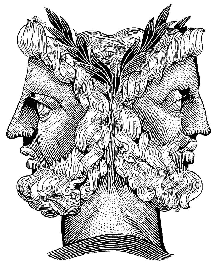 janus: one face looks to the furture and the other to the past ..........