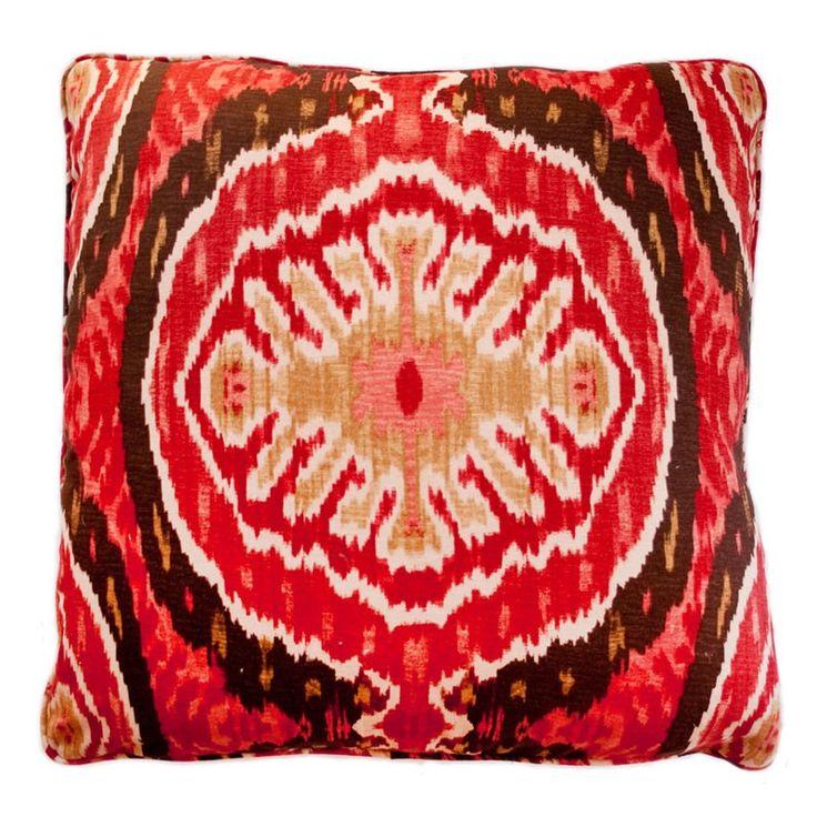 Stuart Lawrence // Ikat Red Throw Pillow